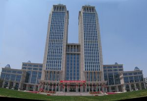 The modern Guanghua Twin Towers--standing in the center of the campus, the towers are 462 feet